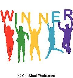 vencedor, silhuetas, conceito, pular, pessoas