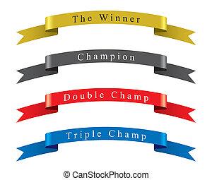 vencedor, vetorial, jogo, campeão, fita