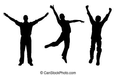 vencedores, homens, feliz