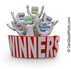 vencedores, -, pessoas, com, trabalho equipe, qualities