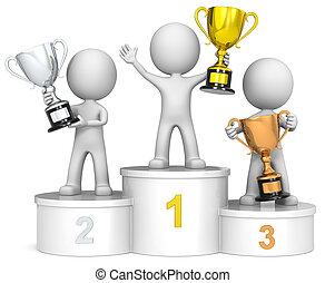 vencedores, podium.