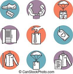 venda, ícones, compra, entrega, vetorial, roupa