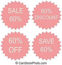 venda, 60%, branco, fundo, vetorial, ilustração