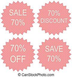 venda, 70%, branco, fundo, vetorial, ilustração