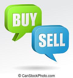 venda, bolha, compra, fala