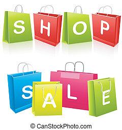 venda, bolsas para compras