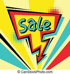 venda, caricatura, fala, fundo, cômico, bolha, style.