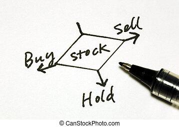 venda, comprar, asimiento, o, acciones