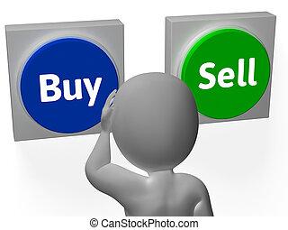 venda, comprar, exposición, acciones, botones, comercio, ...