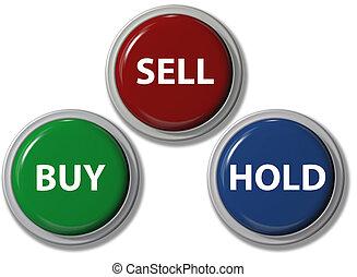 venda, comprar, financiero, botones, asimiento, clic