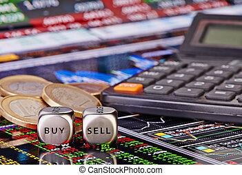 venda, comprar, financiero, calculator., selectivo, coins, foco, gráfico, fondo., cubos, corta en dados, palabras, comerciante, euro