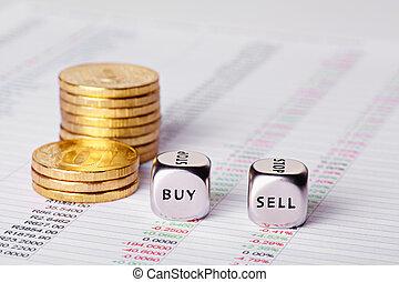 venda, cubos, buy., coins, foco, gráfico, selectivo, corta en dados, palabras