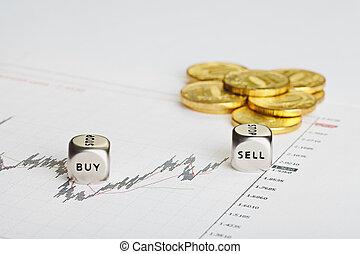 venda, cubos, financiero, exitoso, buy., coins, gráfico, corta en dados, palabras, trading.