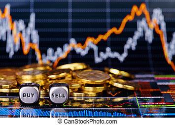 venda, dorado, cubos, financiero, palabras, comprar, coins, gráfico, corta en dados, plano de fondo
