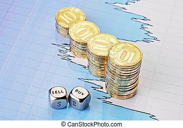 venda, dorado, cubos, palabras, comprar, coins, gráfico, uptrend, enfoque., fondo., selectivo, corta en dados, fiinancial, pilas