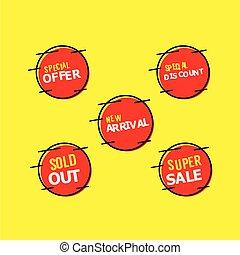 venda, etiqueta, compilação, vetorial, modelo, desenho,...