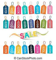 venda, etiquetas, -, coloridos, vetorial, etiquetas, jogo, isolado, branco, fundo
