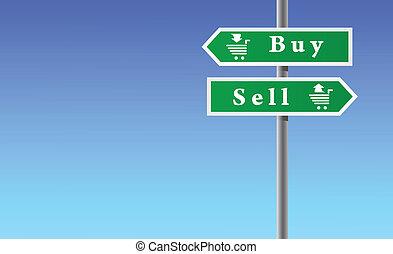 venda, flechas, comprar, cielo, fondo.
