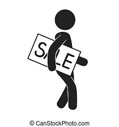 venda, ilustração, advirta, vetorial, ícone, homem negócios