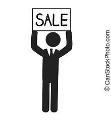 venda, ilustração, vetorial, anunciando, ícone, homem negócios