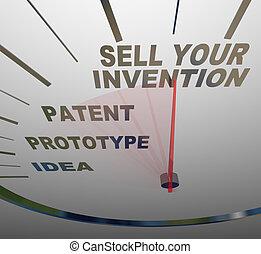 venda, invenção, passos, palavras, inventing, velocímetro, seu