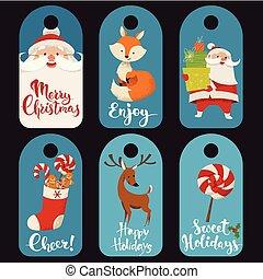 venda, inverno, natal, etiquetas, engraçado, characters.