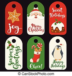 venda, inverno, natal, etiquetas, tradicional, engraçado, characters.