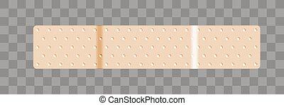 venda, largo, bandaid, forma, beige, adhesivo