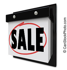 venda, lembrete, circundado, ligado, calendário parede, exceto dinheiro