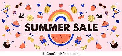 venda, melancia, coquetéis, desenho, bandeira, frutas, verão, creme, gelo, arco íris