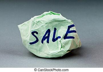 venda, palavra, ligado, papel