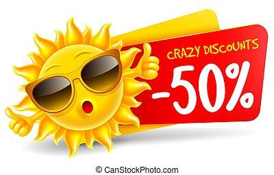 venda, personagem, alegre, caricatura, anunciar, verão, sol