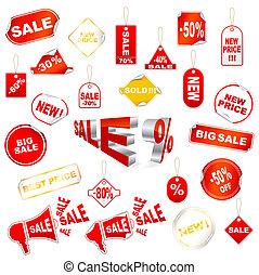 venda, vermelho, ícones