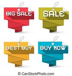 venda, vetorial, etiquetas, jogo, isolado, branco, fundo