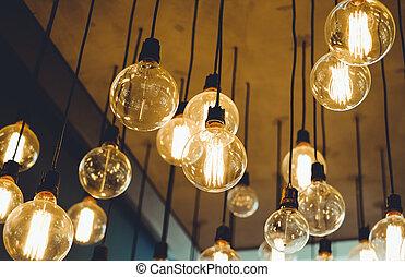 vendange, éclairage, décor, pour, conception intérieur