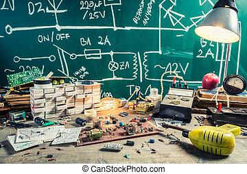 vendange, école, composants, laboratoire, électronique