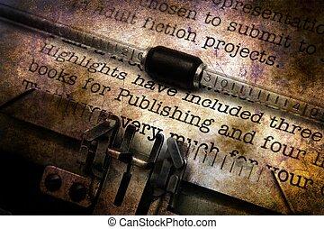 vendange, édition, lettre, machine écrire