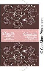vendange, élégant, conception, invitation, floral, carte