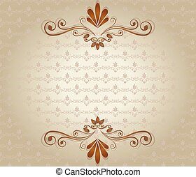vendange, élégant, vecteur, fond, floral, ornaments.