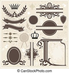 vendange, éléments, conception, fond, collection