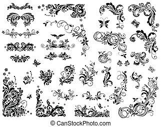 vendange, éléments conception, noir, blanc