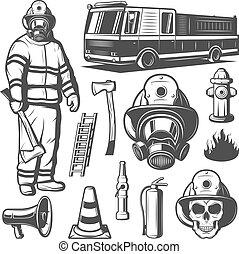 vendange, éléments, ensemble, firefighting