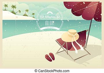 vendange, été, affiche