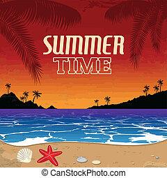 vendange, été, affiche, temps