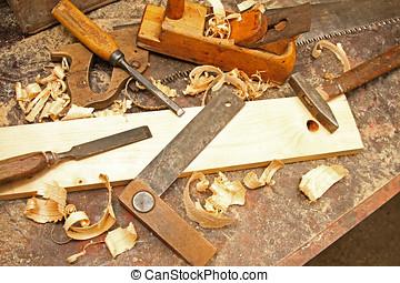 vendange, établi, construction, vieux, outils