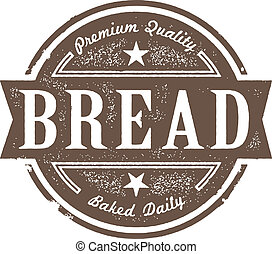 vendange, étiquette, cuit, pain frais
