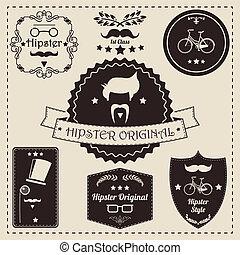 vendange, étiquette, hipster, icônes