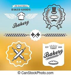 vendange, étiquettes, boulangerie, retro, logo, insignes, pain