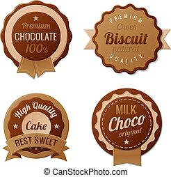 vendange, étiquettes, chocolat