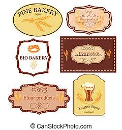 vendange, étiquettes, collection, boulangerie, retro, insignes